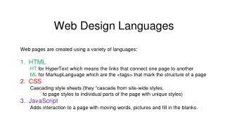 Web Design Languages