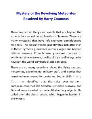 Mystery of the Revolving Meteorites Resolved By Harry Coumnas