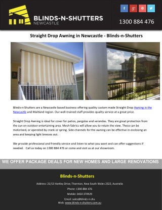 Straight Drop Awning in Newcastle - Blinds-n-Shutters