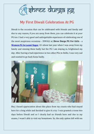 My First Diwali Celebration At PG