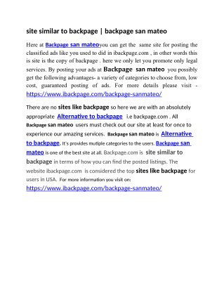 site similar to backpage   backpage san mateo