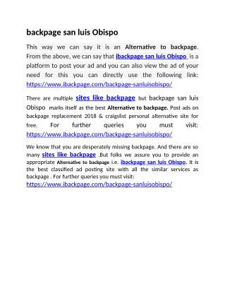 Alternative to backpage   backpage san luis Obispo