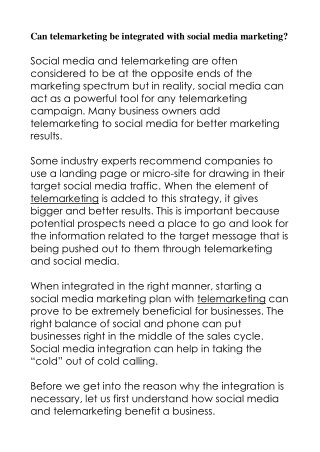 Can telemarketing be integrated with social media marketing?