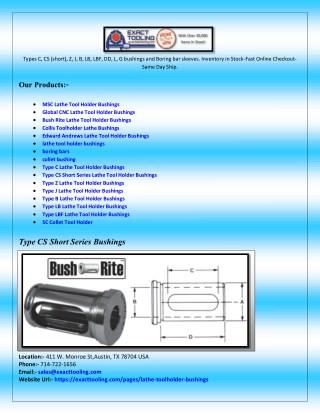 Type L Lathe Tool Holder Bushings