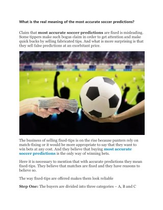 What is the real meaning of the most accurate soccer predictions