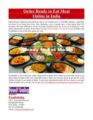 Order Ready to Eat Meal Online in India
