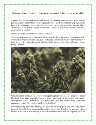 Know about the Difference between Indica vs. Savita