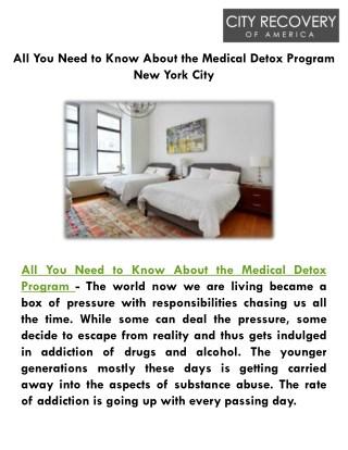 Medical Detox Program New York City