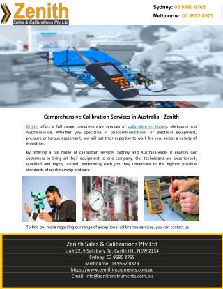 Comprehensive Calibration Services in Australia – Zenith