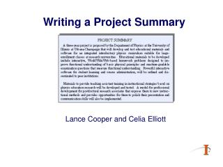 Writing a Project Summary