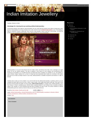 Advantages for choosing the eye-catching artificial bridal jewellery