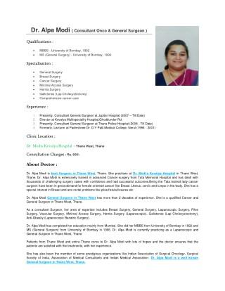 Dr. Alok Modi - Best General Surgeon in Thane West, Mumbai