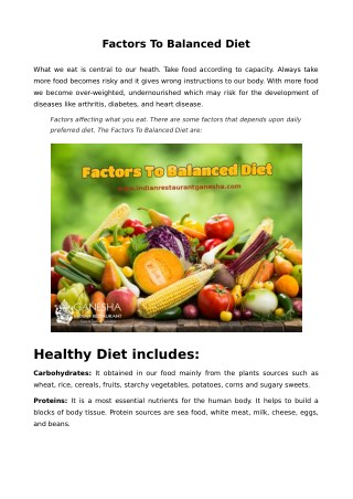 Factors To Balanced Diet