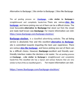 Alternative to Backpage   Site similar to Backpage   Sites like Backpage