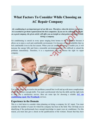 What Factors To Consider While Choosing an AC Repair Company