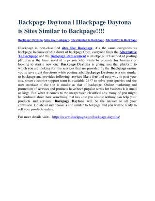 Backpage Daytona | IBackpage Daytona is Sites Similar to Backpage
