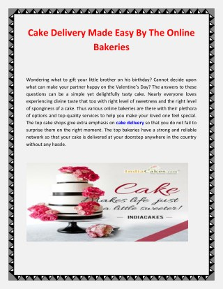 Cake Delivery Made Easy By The Online Bakeries