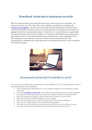 Download trendmicro maximum security
