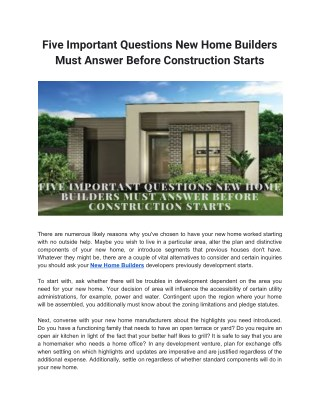 Five Important Questions New Home Builders Must Answer Before Construction Starts