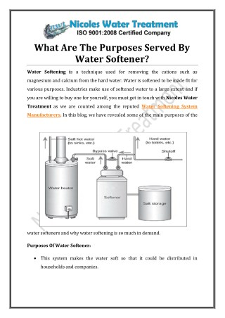 What Are The Purposes Served By Water Softener?
