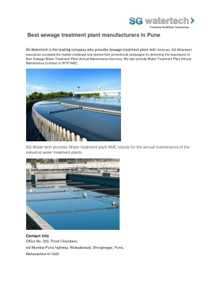 Best sewage treatment plant manufacturers in pune