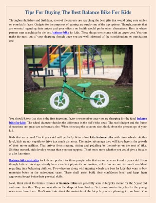 Tips For Buying The Best Balance Bike For Kids