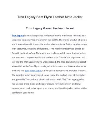 Tron Legacy Sam Flynn Leather Moto Jacket