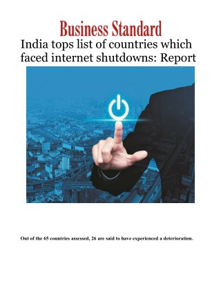 India tops list of countries which faced internet shutdowns: Report