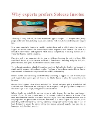 Why experts prefers Soleeze Insoles