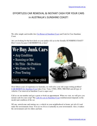 EFFORTLESS CAR REMOVAL & INSTANT CASH FOR YOUR CARS in AUSTRALIA's SUNSHINE COAST!