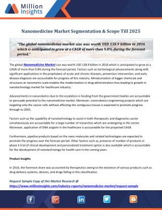 Nanomedicine Market Segmentation & Scope Till 2025