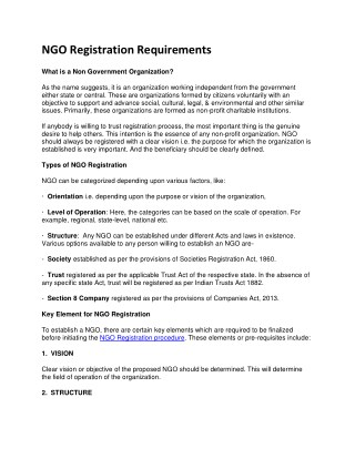 NGO Registration Requirements