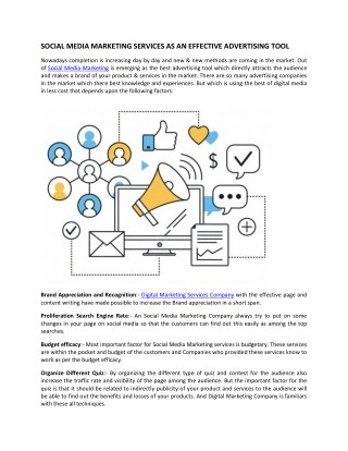 SOCIAL MEDIA MARKETING SERVICES AS AN EFFECTIVE ADVERTISING TOOL