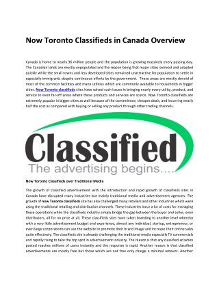Now Toronto Classifieds in Canada Overview