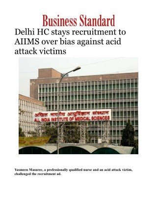 Delhi HC stays recruitment to AIIMS over bias against acid attack victims