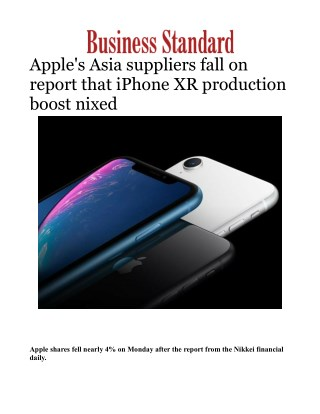 Apple's Asia suppliers fall on report that iPhone XR production boost nixed