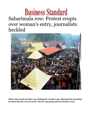 Sabarimala row: Protest erupts over woman's entry, journalists heckled