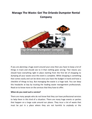 Manage The Waste: Get The Orlando Dumpster Rental Company