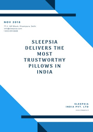 Sleepsia Delivers the Most Trustworthy Pillows in India