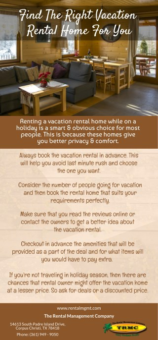 Find The Right Vacation Rental Home For You