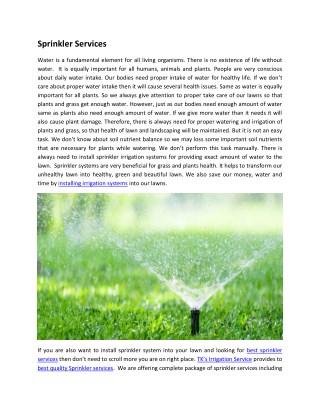 Sprinkler Services