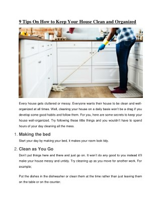 9 Tips On How to Keep Your House Clean and Organized