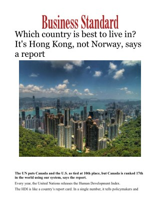 Which country is best to live in? It's Hong Kong, not Norway, says a report