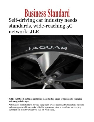 Self-driving car industry needs standards, wide-reaching 5G network: JLR
