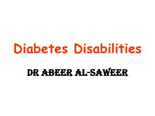 Diabetes Disabilities