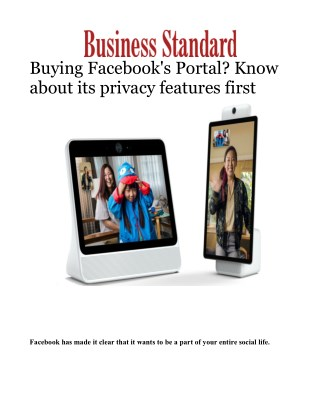 Buying Facebook's Portal? Know about its privacy features firs
