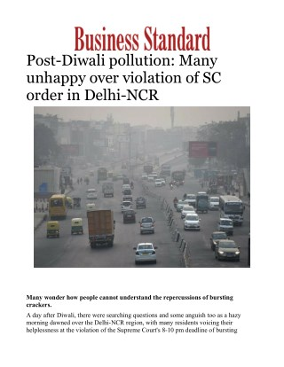Post-Diwali pollution: Many unhappy over violation of SC order in Delhi-NCR