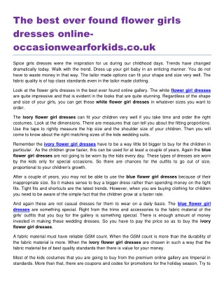 The best ever found flower girls dresses online occasionwearforkids.co.uk