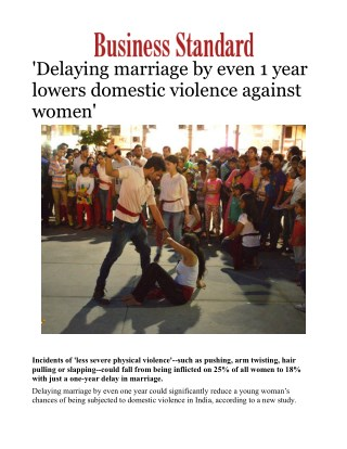 Delaying marriage by even 1 year lowers domestic violence against women'