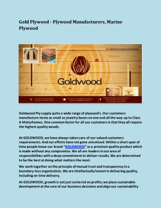 Gold Plywood - Plywood Manufacturers, Marine Plywood
